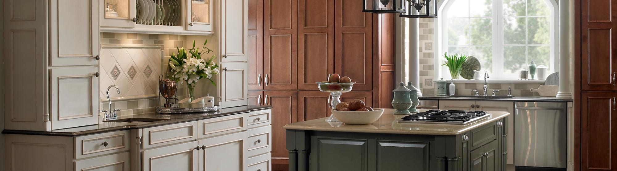 Windsor Maple Morel Raw Umber Glaze and Highlight with Heirloom Distressing and Amaretto; Island Shown in Sheffield Maple Seagrass Dry Brush